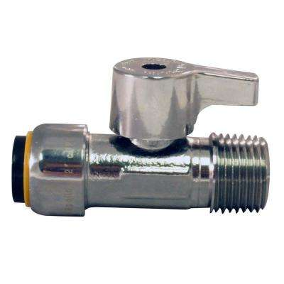 1/2 in. Chrome Plated Brass Push-to-Connect x 1/2 in. MNPT Quarter Turn Straight Stop Valve