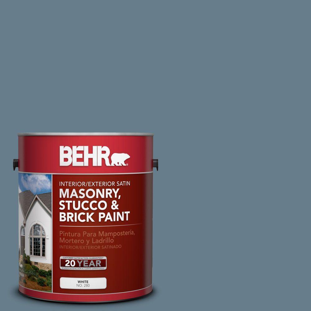 1-gal. #MS-74 Logan Lake Satin Interior/Exterior Masonry, Stucco and Brick Paint