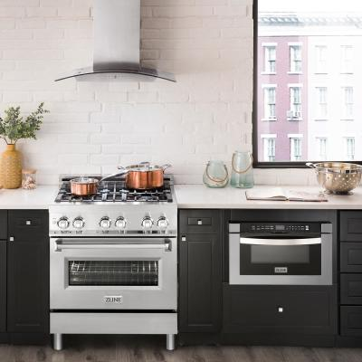 ZLINE 30 in. Professional 4.0 cu. ft. 4 Gas Burner/Electric Oven Range in Stainless Steel (RA30)