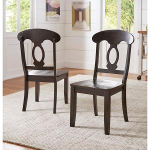 Sawyer Antique Black Wood Napoleon Back Dining Chair Set Fo 2