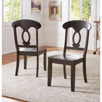 Sawyer Antique Black Wood Napoleon-Back Dining Chair (Set fo 2)