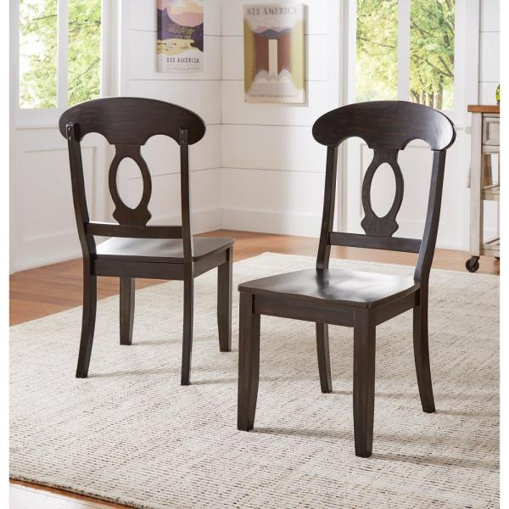 Homesullivan Sawyer Antique Black Wood Napoleon Back Dining Chair Set Fo 2