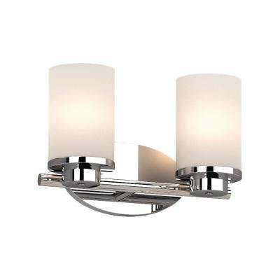 Sharyn 2-Light 8.25 in. Chrome Indoor Bathroom Vanity Wall Sconce or Wall Mount with Frosted Glass Cylinder Shades