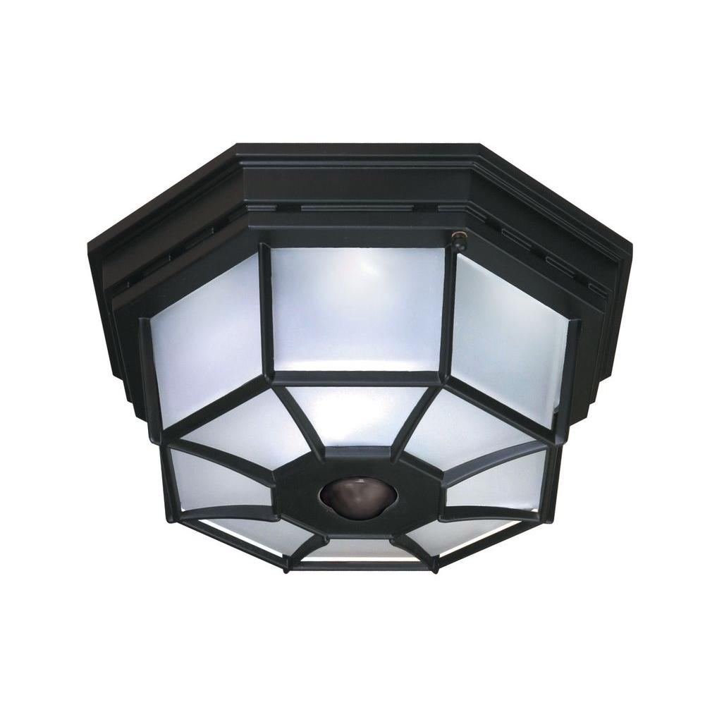 Heath Zenith 360 4 Light Black Motion Activated Octagonal Ceiling Light Hz 4300 Bk The Home Depot