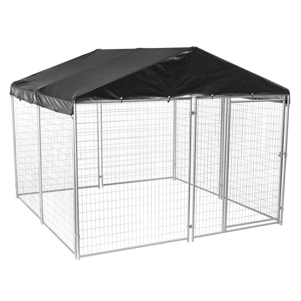 Lucky Dog 6 Ft H X 10 Ft W X 10 Ft L Modular Welded Wire Kennel Kit With Cover And Frame Cl 59145 The Home Depot
