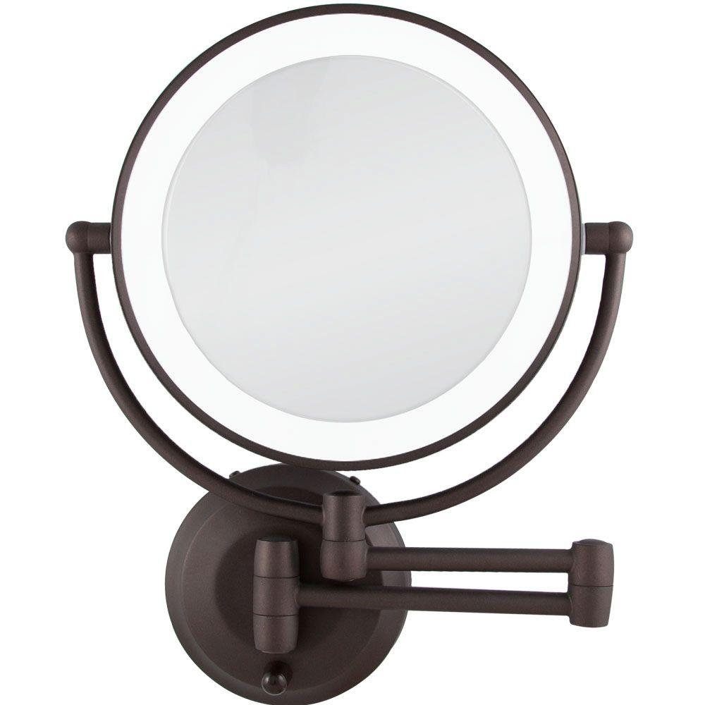 W LED Lighted Wall Makeup Mirror in Oil