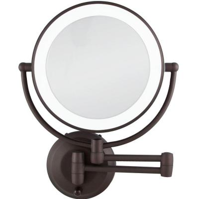 15 in. L x 12 in. W LED Lighted Round Wall Mount Bi-View 10X/1X Magnification Beauty Makeup Mirror in Bronze