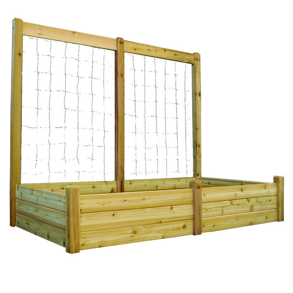 48 in. x 95 in. x 19 in. Raised Garden Bed with 95 in. W x 80 in. H Trellis Kit