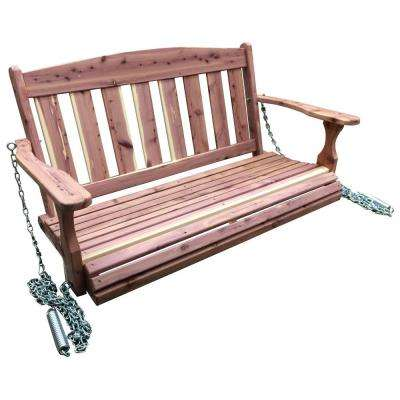 Amish Made 4 ft. Unfinished Cedar Traditional Porch Patio Swing