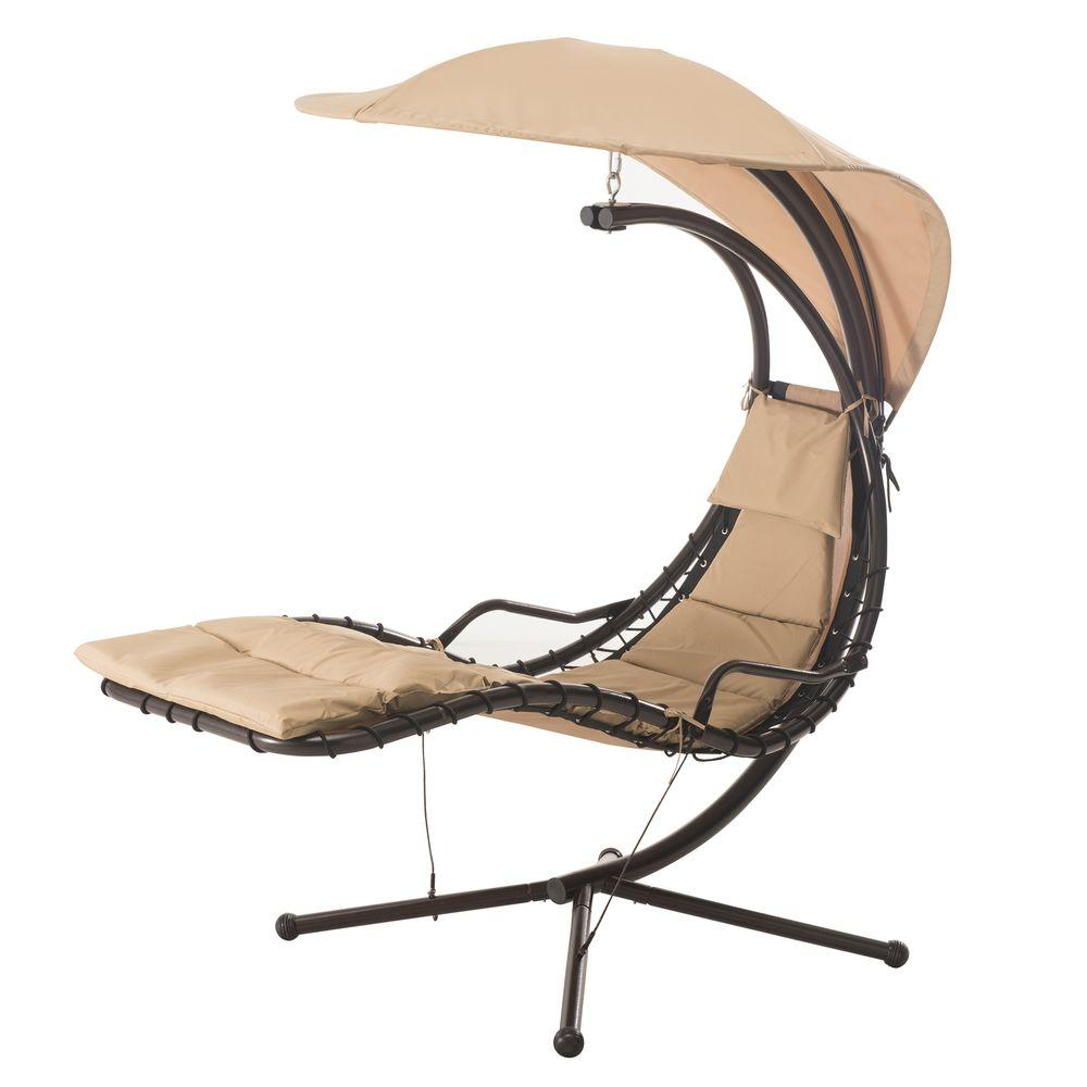 Sunjoy Corona Steel Patio Swing With Beige Cushion 110205002   The Home  Depot