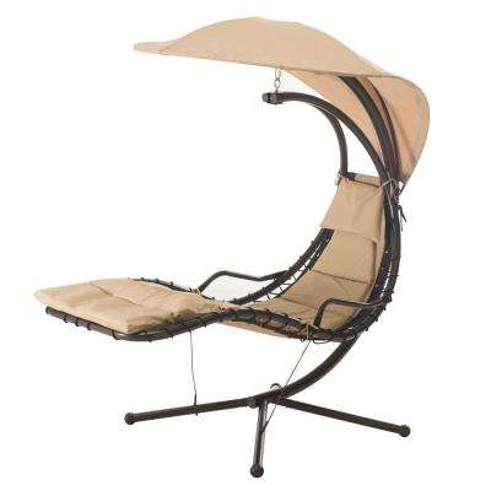 Corona Steel Patio Swing With Beige Cushion