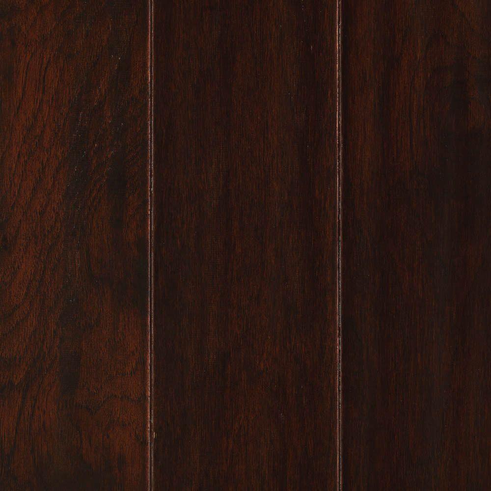Mohawk Chocolate Hickory 3/8 in. T x 5.25 in. W x Random L Soft Scraped Engineered UNICLIC Hardwood Flooring (22.5 sq.ft./case)
