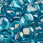 10 lbs. of Tahitian Blue 1/2 in. Semi Reflective Fire Glass Beads