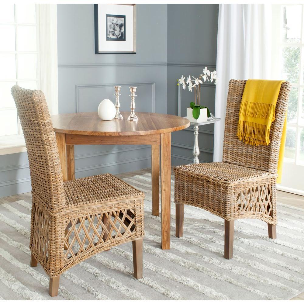 Sumatra Kubu Soft Gray Rattan Side Chair (Set of 2)