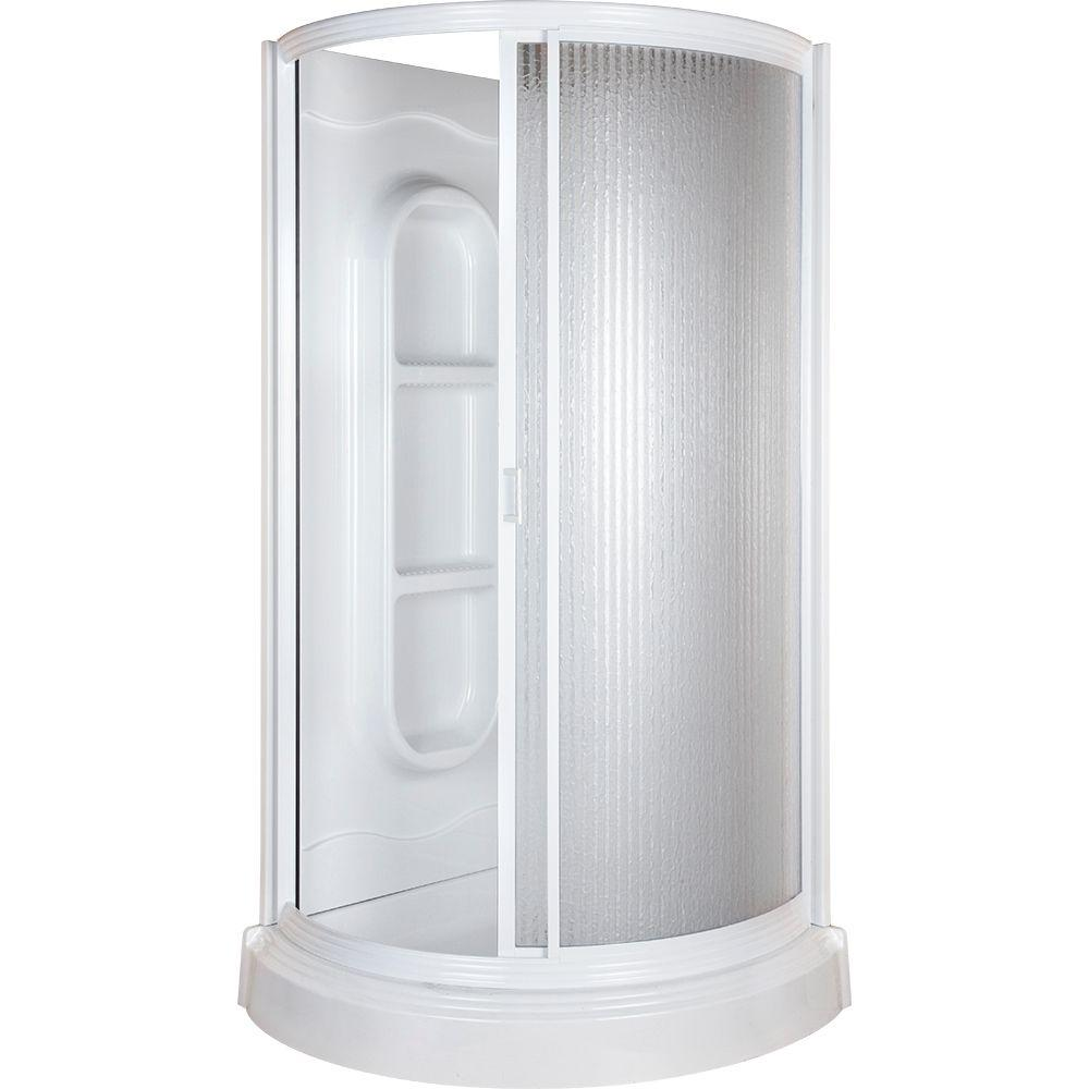 38 in. x 38 in. x 78 in. Shower Kit in White-455000 - The Home Depot