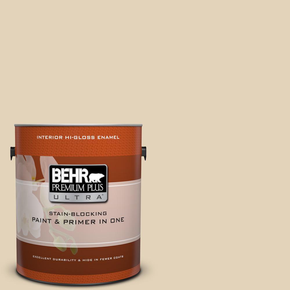 1 gal. #BXC-50 Stucco White Hi-Gloss Enamel Interior Paint and Primer