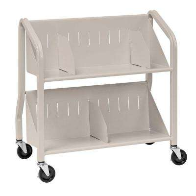 Sloped Silver 2-Shelf Book Cart with Dividers