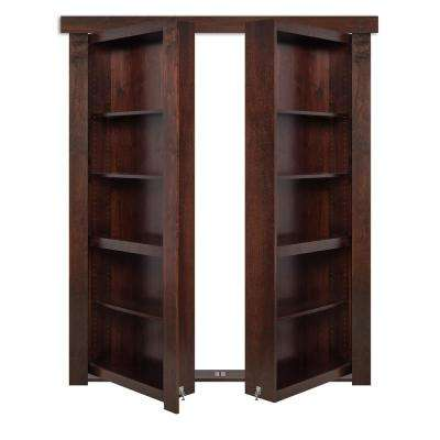 72 in. x 80 in. Flush Mount Assembled Walnut Dark Brown Stained Universal Solid Core Interior French Bookcase Door