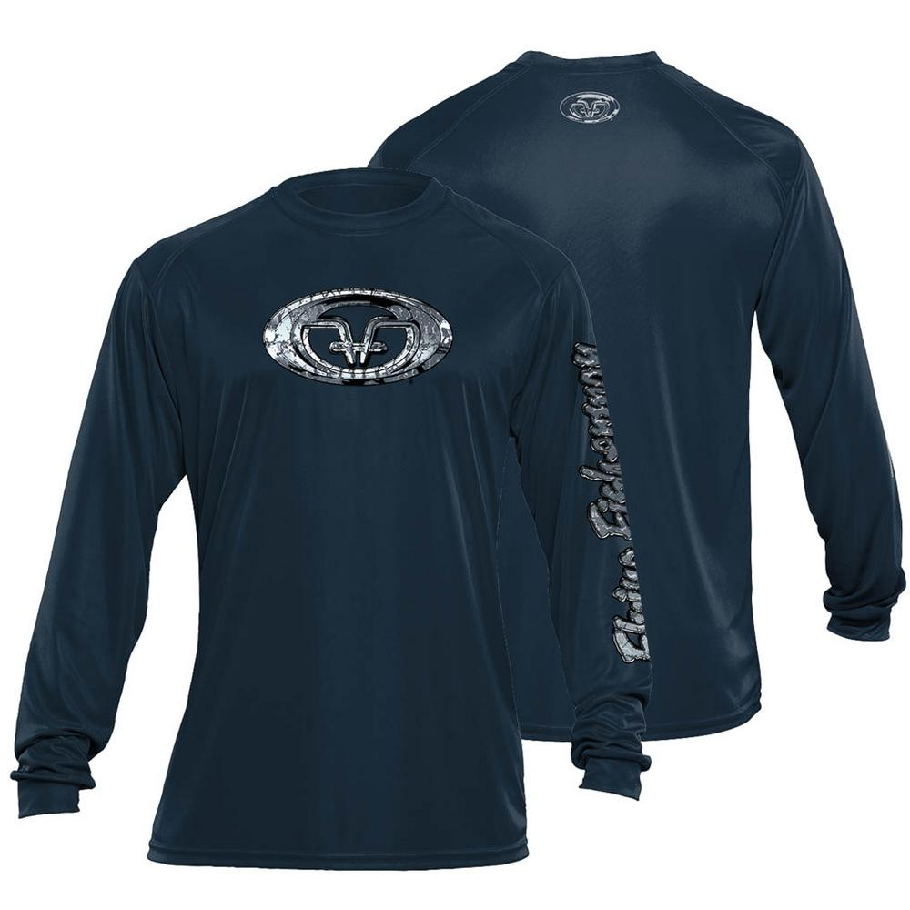 Fish Scales Logo Large Long Sleeve Performance Tee in Navy