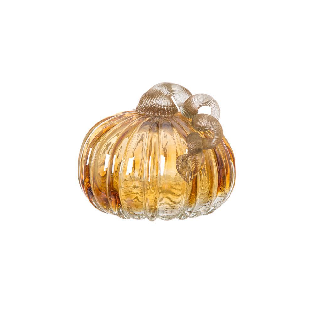 Glitzhome 4.72 in. H Pumpkin Crackle Glass Short in Amber