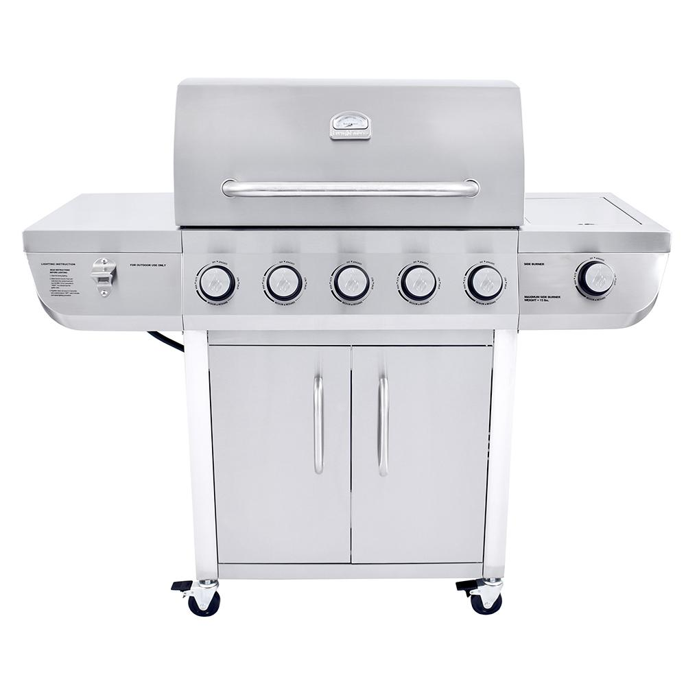 Even Embers 5-Burner Propane Gas Grill in Stainless Steel