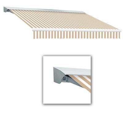 12 ft. Destin-LX with Hood Manual Retractable Awning (120 in. Projection) in Linen/White