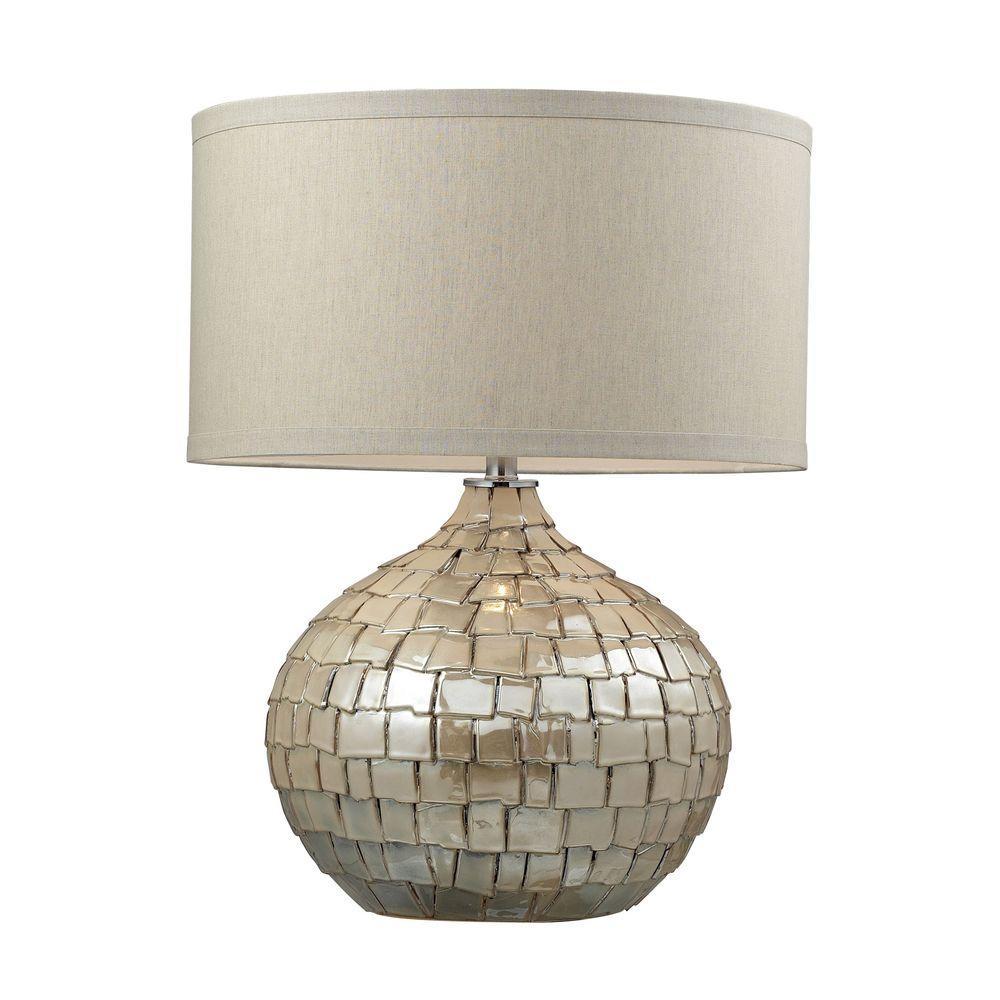Titan Lighting Canaan 25 In Cream Pearl Ceramic Table Lamp With