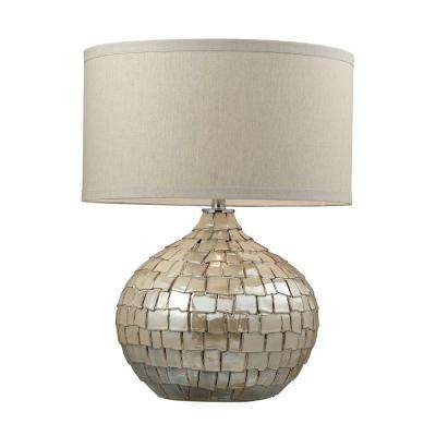 Cream pearl ceramic table lamp with light beige linen shade