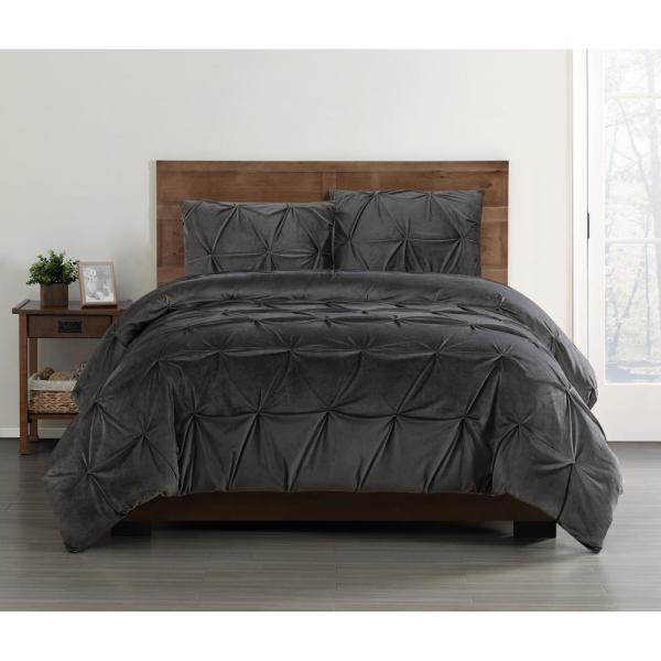 Truly Soft Everyday 3 Piece Grey Full Queen Duvet Cover Set