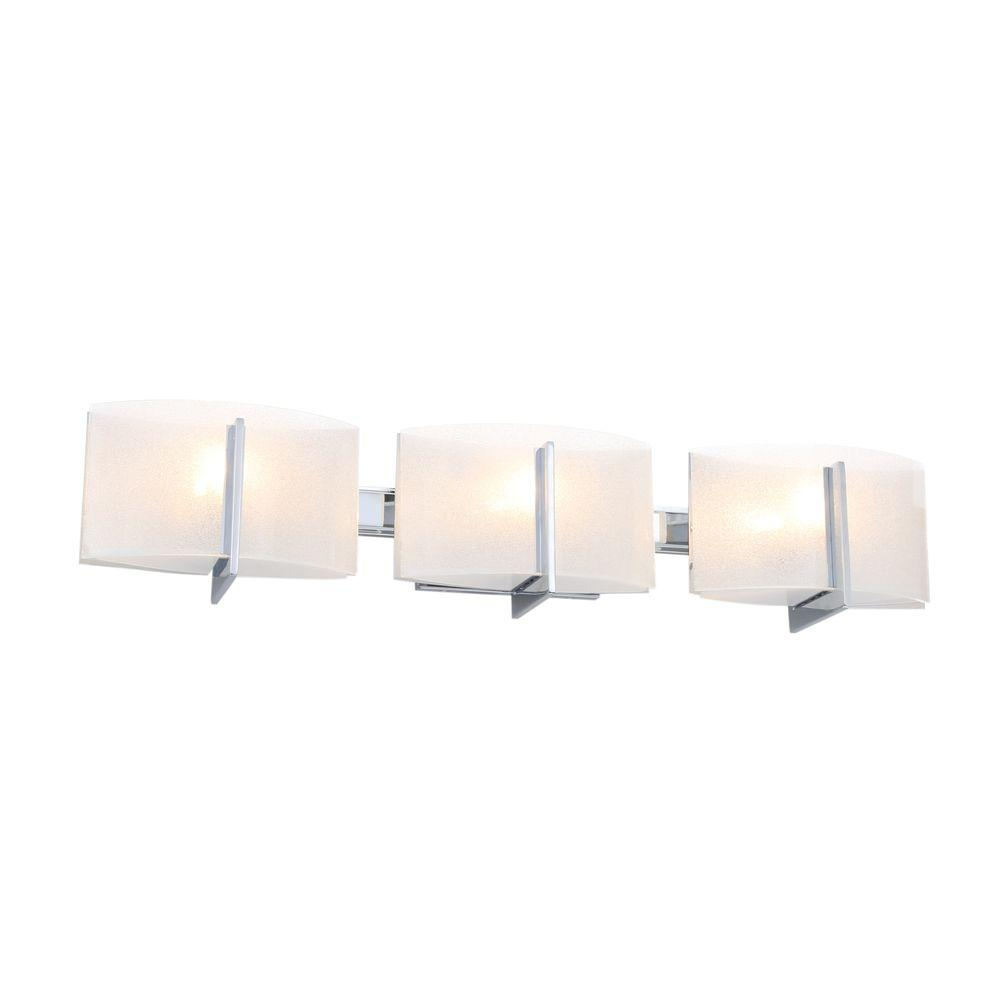 Minka lavery clarte 3 light chrome bath light 6393 77 the home depot for Minka bathroom light fixtures