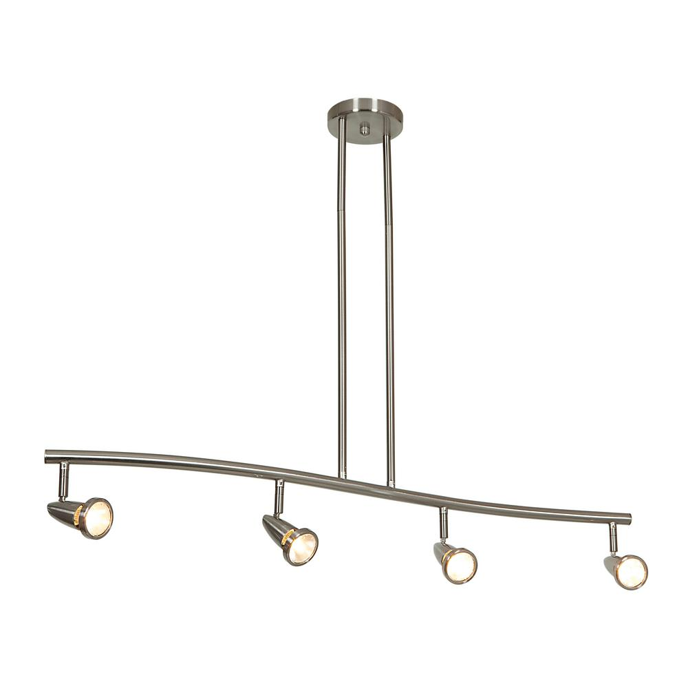 Access Lighting Mirage 4 Light Brushed Steel Bar Pendant