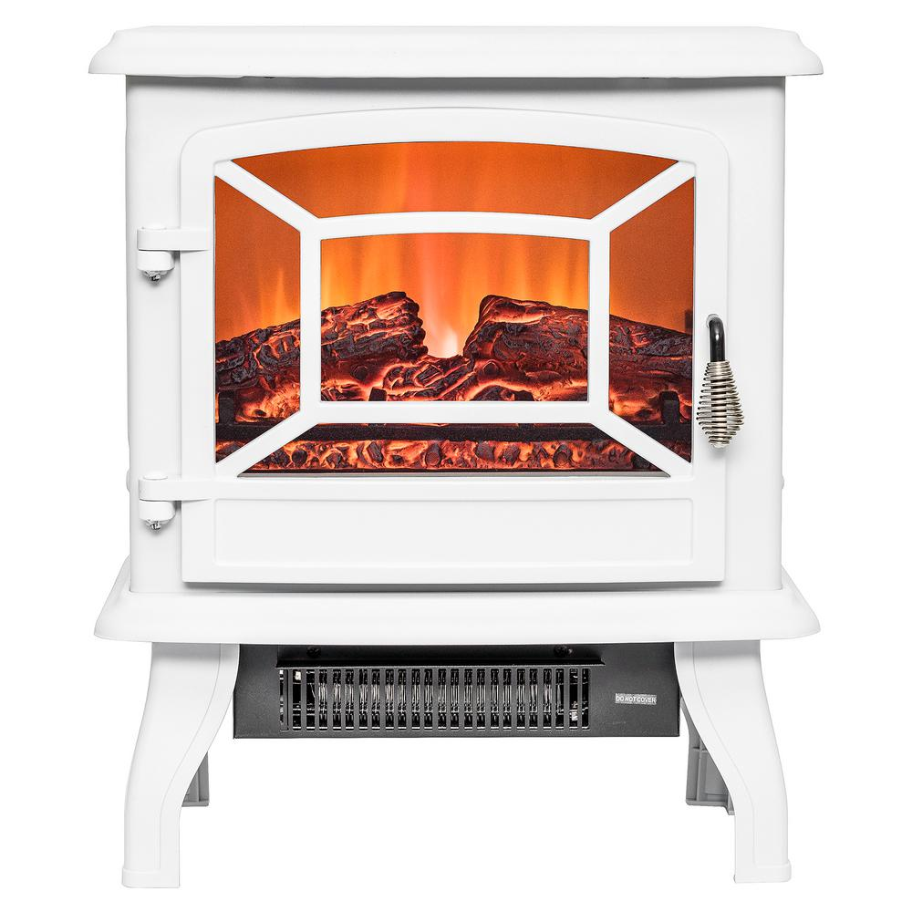 AKDY 17 in. Freestanding Electric Fireplace Stove Heater in White ...