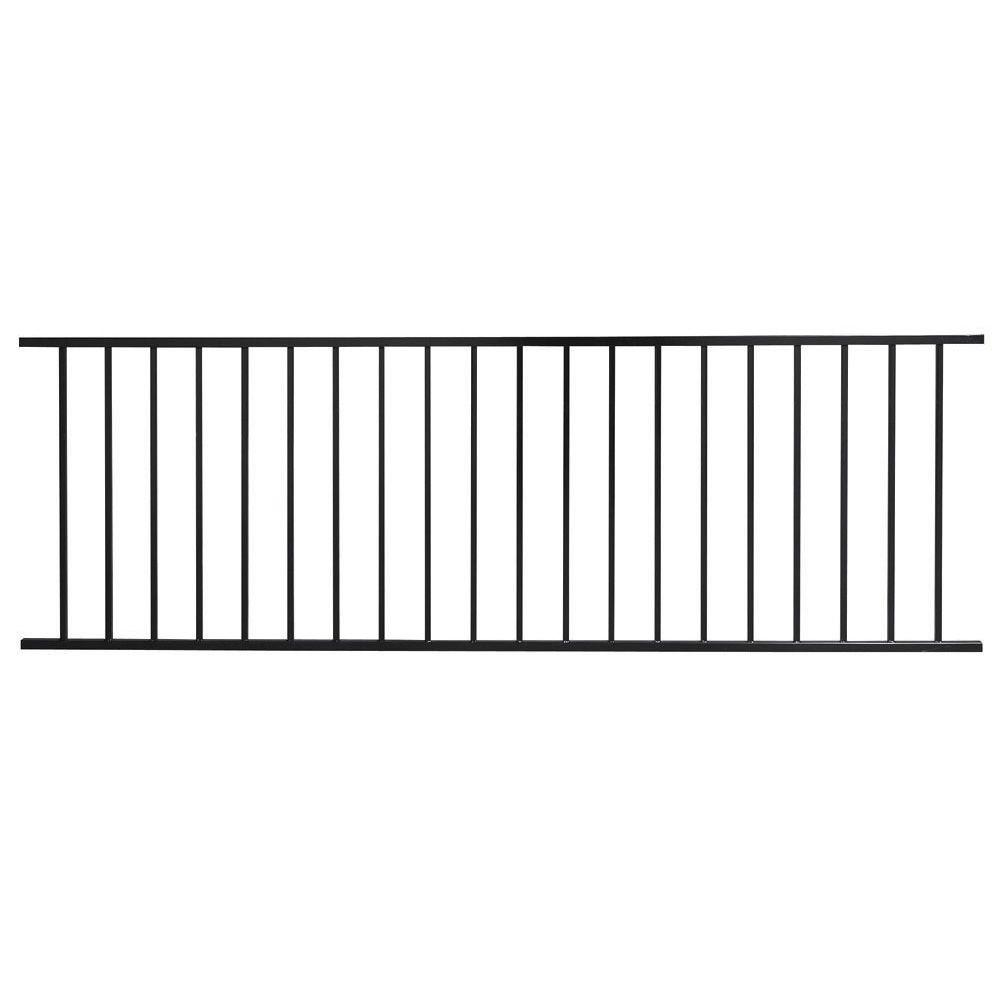 First Alert Pro Series 3 ft. H x 8 ft. W Black Galvanized Steel 2-Rail Fence Panel (16-Pack)
