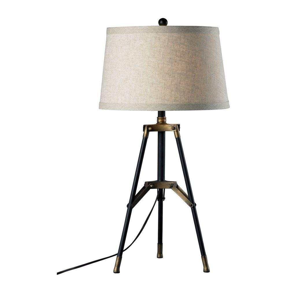 Titan lighting functional tripod 30 in restoration black and aged titan lighting functional tripod 30 in restoration black and aged gold table lamp tn 999328 the home depot geotapseo Gallery