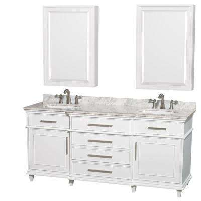Berkeley 72 in. Double Vanity in White with Marble Vanity Top in White Carrara and Undermount Round Sinks