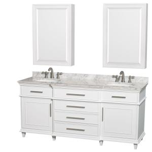 Wyndham Collection Berkeley 72 inch Double Vanity in White with Marble Vanity Top in White... by Wyndham Collection