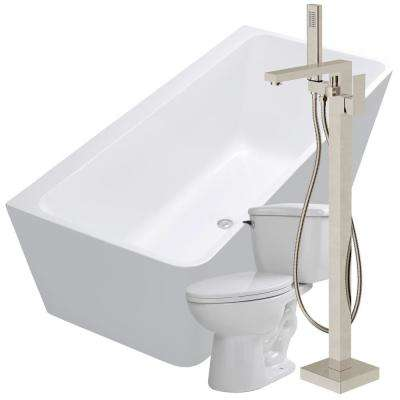 Strait 67 in. Acrylic Flatbottom Non-Whirlpool Bathtub in White with Dawn Faucet and Kame 1.28 GPF Toilet