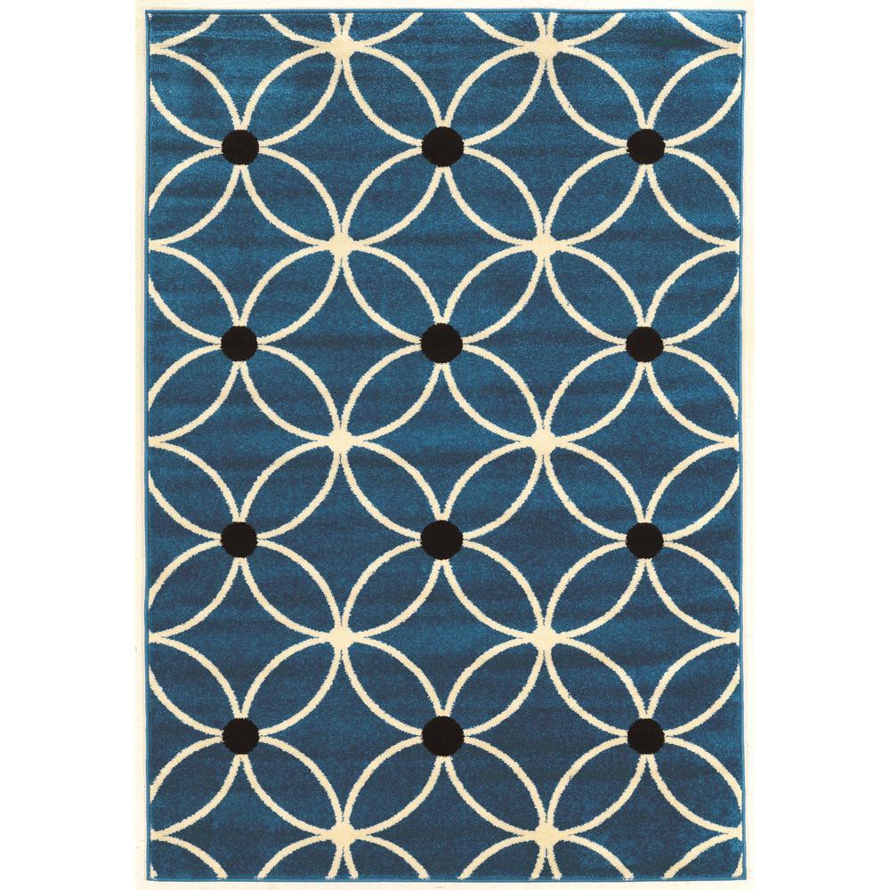 Claremont Cylinder Blue and Black 5 ft. x 7 ft. Rectangle Area Rug, Blue/Ivory