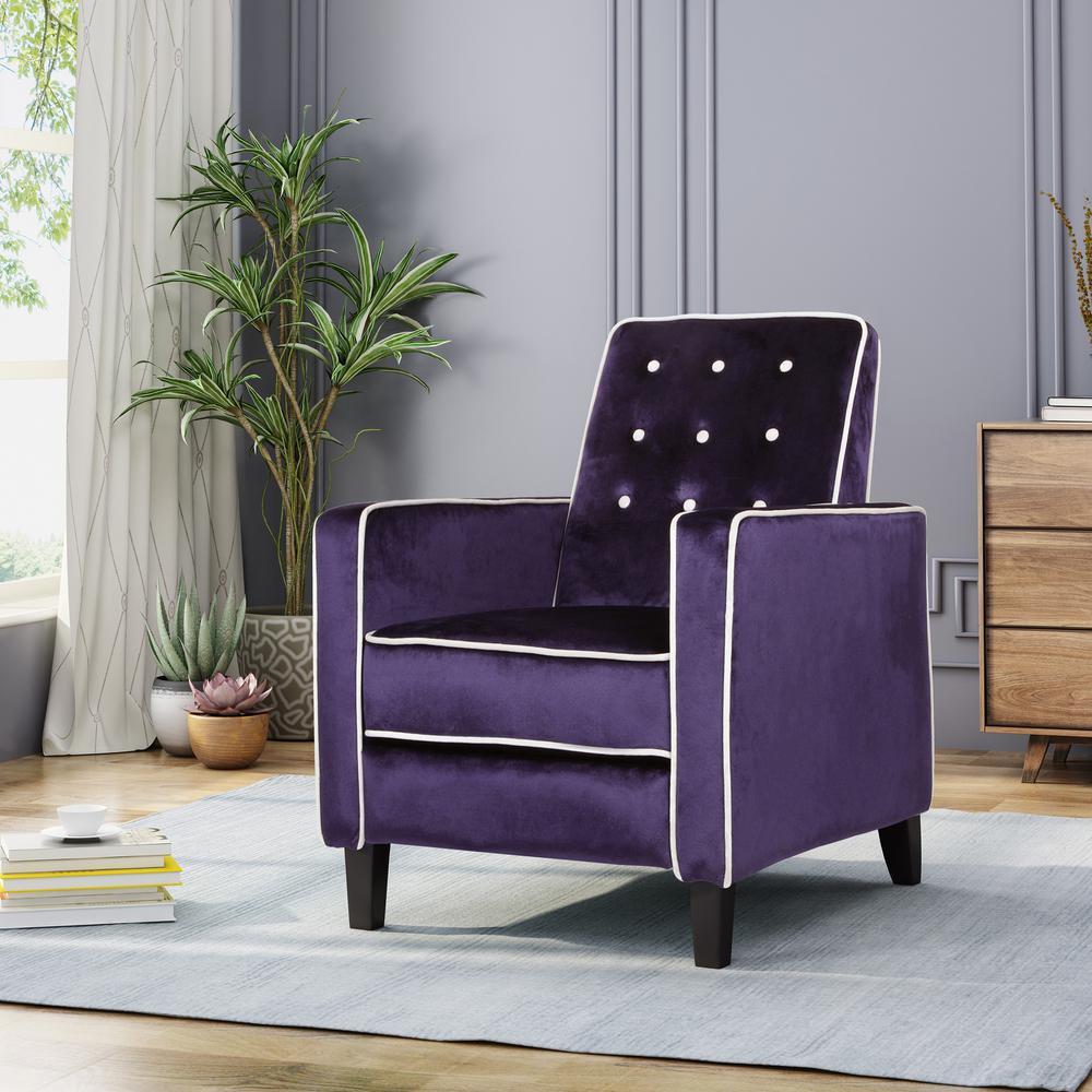 Enjoyable Noble House La Verne Modern Glam Plum Velvet Push Back Ncnpc Chair Design For Home Ncnpcorg