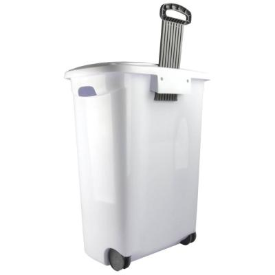 Sterilite White Laundry Hamper With Lift-Top, Wheels, And Pull Handle (6 Pack)