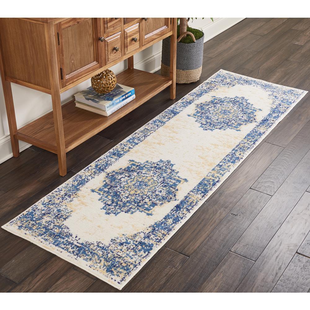 Nourison Grafix 2 X 8 Runner White And Blue Persian Hallway Rug
