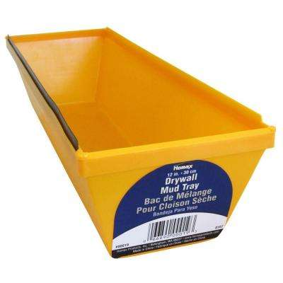 12 in. Polystyrene Drywall Mud Tray with Metal Edge