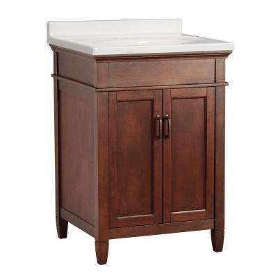 Ashburn 25 in. W x 22 in. D Vanity in Mahogany with Vanity Top in White