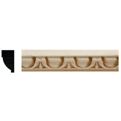 681 9/16 in. x 1 in. x 96 in. White Hardwood Embossed Egg and Dart Trim Detail Moulding