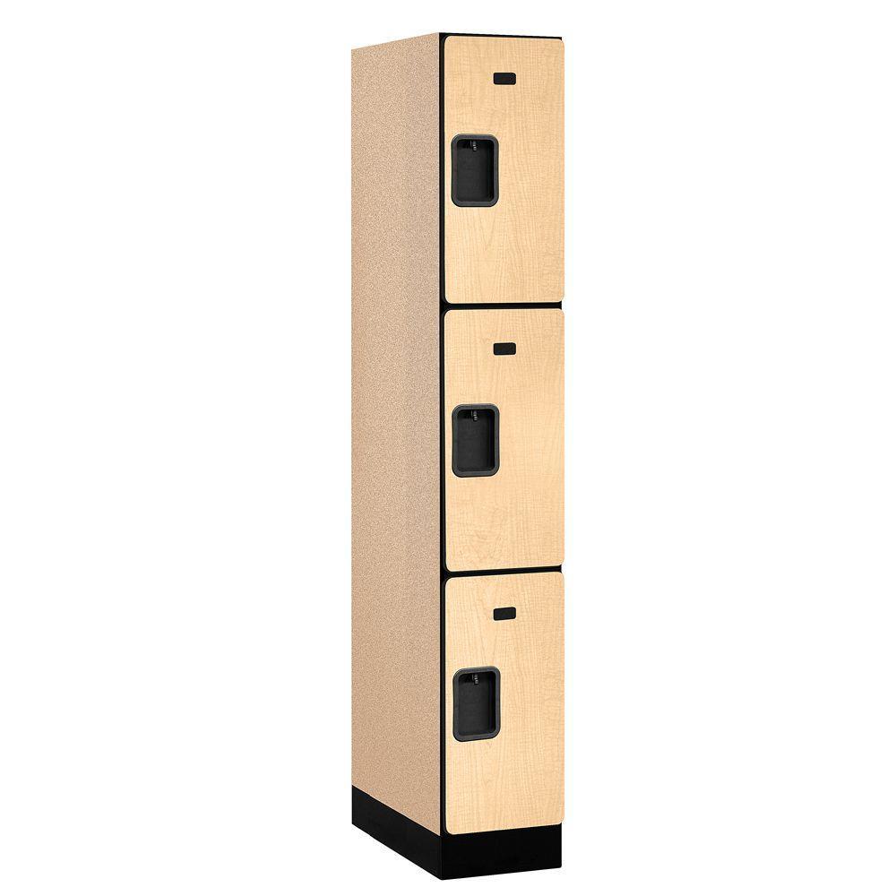 33000 Series 12 in. W x 76 in. H x 21 in. D 3-Tier Designer Wood Locker in Maple