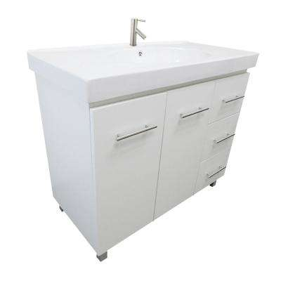 Pam R 39.6 in. W x 18.9 in. D Bath Vanity in White with Ceramic Vanity Top in White with White Basin