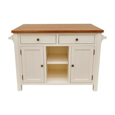 Atlantic White Kitchen Island with Overhang