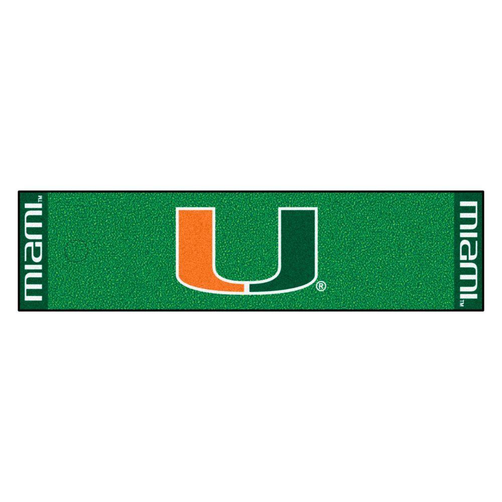 NCAA University of Miami 1 ft. 6 in. x 6 ft. Indoor 1-Hole Golf Practice Putting Green