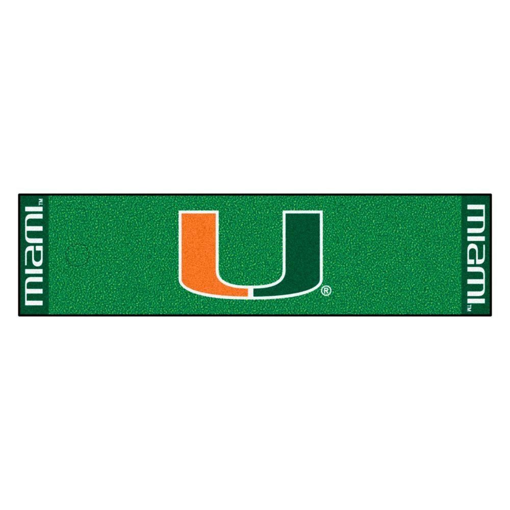 FANMATS NCAA University of Miami 1 ft. 6 in. x 6 ft. Indoor 1-Hole Golf Practice Putting Green