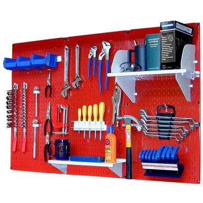 32 in. x 48 in. Metal Pegboard Standard Tool Storage Kit with Red Pegboard and White Peg Accessories